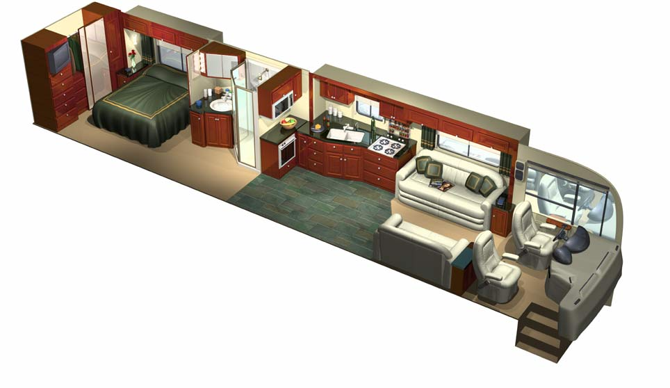 3D Cutaway Of Custom Designed Luxury RV Full Interior Front View ...